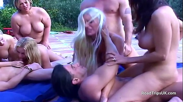 8 way group sex outside
